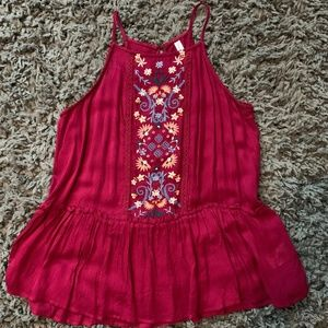 Burgundy Tank with Floral Embroidery